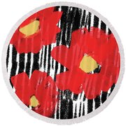 Round Beach Towel featuring the mixed media Modern Red Flowers- Art By Linda Woods by Linda Woods