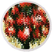 Modern Red Poppies - Pieces 4 - Sharon Cummings Round Beach Towel by Sharon Cummings