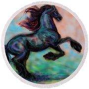 Modern Royal Friesian Round Beach Towel