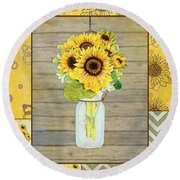 Modern Rustic Country Sunflowers In Mason Jar Round Beach Towel