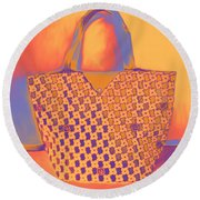 Modern Shopping Bag Round Beach Towel