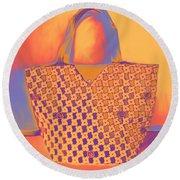 Modern Shopping Bag Round Beach Towel