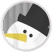 Modern Snowman On Stripes- Art By Linda Woods Round Beach Towel