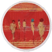 Round Beach Towel featuring the mixed media Modern Society by Eduardo Tavares