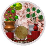 Modern Still Life With Abstract Flowers Round Beach Towel