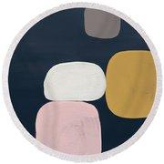 Modern Stones Navy 2- Art By Linda Woods Round Beach Towel