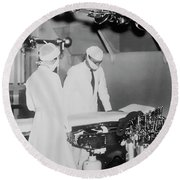 Round Beach Towel featuring the photograph Modern Surgery by Daniel Hagerman