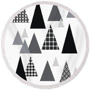 Modern Triangle Trees- Art By Linda Woods Round Beach Towel