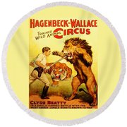 Modern Vintage Circus Poster Round Beach Towel