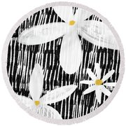 Round Beach Towel featuring the mixed media Modern White Flowers- Art By Linda Woods by Linda Woods