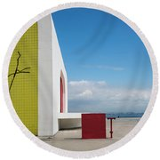 Modernist Architecture Red, Blue And Yellow Round Beach Towel by Lana Enderle
