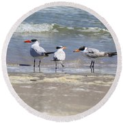 Moe And Larry And Curlie Round Beach Towel