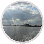 Moggy Afternoon On The Woolwich Ferry Crossing - London Round Beach Towel