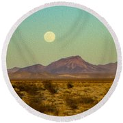 Mohave Desert Moon Round Beach Towel