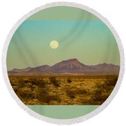 Mohave Desert Moon Round Beach Towel