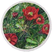 Mohave Mound Cactus Round Beach Towel by Eric Samuelson