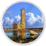 Mohawk Island Lighthouse Round Beach Towel