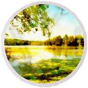 Round Beach Towel featuring the painting Mohegan Lake Hidden Oasis by Derek Gedney