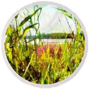 Round Beach Towel featuring the painting Mohegan Lake In The Brush by Derek Gedney