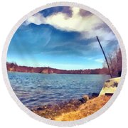Round Beach Towel featuring the painting Mohegan Lake Lonely Boat by Derek Gedney