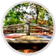 Round Beach Towel featuring the painting Mohegan Lake Merry-go-round by Derek Gedney