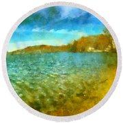 Round Beach Towel featuring the painting Mohegan Lake Panoramic Beach by Derek Gedney