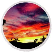 Mojave Sunset Round Beach Towel