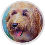 Mojo The Shaggy Dog Round Beach Towel