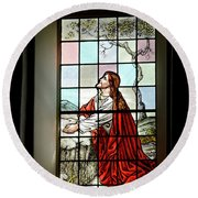 Mokuaikaua Church Stained Glass Window Round Beach Towel