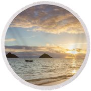 Mokulua Morning Round Beach Towel by Penny Meyers