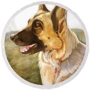 Mollie Round Beach Towel by Marilyn Jacobson