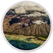 Round Beach Towel featuring the photograph Molokai From The Sky by Joann Copeland-Paul
