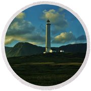 Molokai Lighthouse Round Beach Towel
