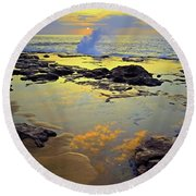 Round Beach Towel featuring the photograph Mololkai Splash by Tara Turner