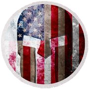Molon Labe - Spartan Helmet Across An American Flag On Distressed Metal Sheet Round Beach Towel