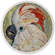 Moluccan Cockatoo Round Beach Towel by Michael Creese