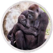 Mom And Baby Gorilla Sitting Round Beach Towel