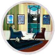Mom And Daughter Sitting In Chairs With Sphynxes Round Beach Towel