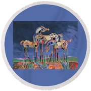 Mom And Foals Round Beach Towel