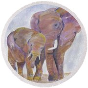 Round Beach Towel featuring the painting Mom And Me by Jamie Frier