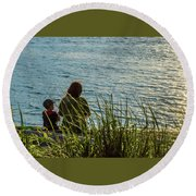 Mother And Son Round Beach Towel by Ed Clark