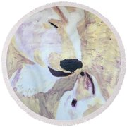 Round Beach Towel featuring the painting Momma Bear Checking On Her Cub by Donald J Ryker III