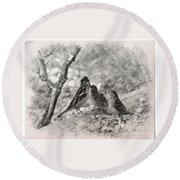 Round Beach Towel featuring the photograph Mom, I Am Hungry by Debby Pueschel