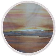 Round Beach Towel featuring the painting Moment By The Lake by Joel Deutsch