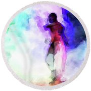 Moment In Blue - African Dancer Round Beach Towel