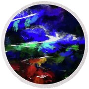 Moment In Blue Lazy River Round Beach Towel