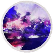 Moment In Blue Major Round Beach Towel
