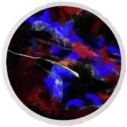 Moment In Blue Night Sky Round Beach Towel