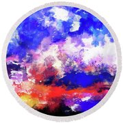 Moment In Blue Sunrise Round Beach Towel