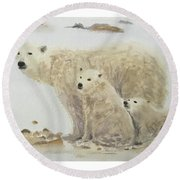 Mommy Bear Round Beach Towel